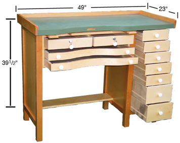Jeweler 39 S Bench With Multi Drawers Benches Bench Tools Benches Jewelry Supplies