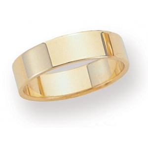 14k Yellow 5mm Flat Band: Size 6.5