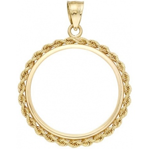 14K Yellow 4-Prong Coin with Rope Bezel: 37.08 mm x 2.69 mm Size