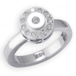 14k White Gold Circle Shape with Diamond Toe Ring: Size 1.5