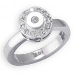 14k White Gold Circle Shape with Diamond Toe Ring: Size 4.75