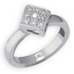 14k White Gold Diamond Shape with Diamond Toe Ring: Size 2.0