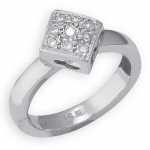 14k White Gold Diamond Shape with Diamond Toe Ring: Size 3.25