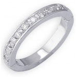 14k White Gold Eternity Diamond Toe Ring: Size 3.50