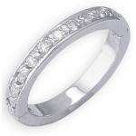 14k White Gold Eternity Diamond Toe Ring: Size 4.5