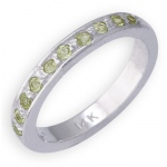 14k White Gold Peridot Toe Ring: Size 4.0