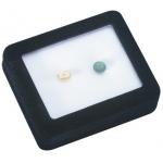 """Glass Top Gem Box 3.5"""" x 3.5"""" (Foam): White"""
