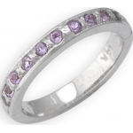 14k White Gold Amethyst Toe Ring: Size 4.25