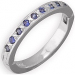 14k White Gold Blue Sapphire Toe Ring: Size 1.5