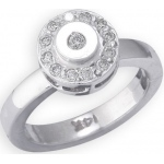 14k White Gold Circle Shape with Diamond Toe Ring: Size 3.25